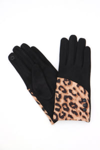 Hailee Animal Print Gloves Black