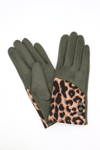 Hailee Animal Print Gloves Khaki