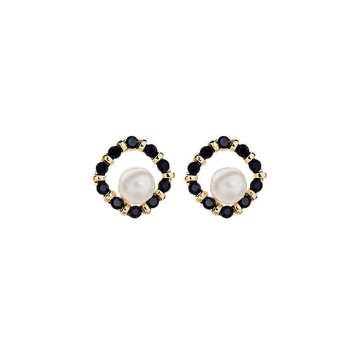 Hannah Crystal Rounded Square Black Earring with Center Pearl
