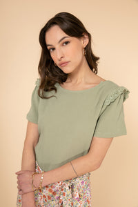 Harriet Sage Green Frill Detail Top Short Sleeve