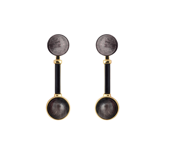 The Moon Earrings Gold/Sparkle Grey