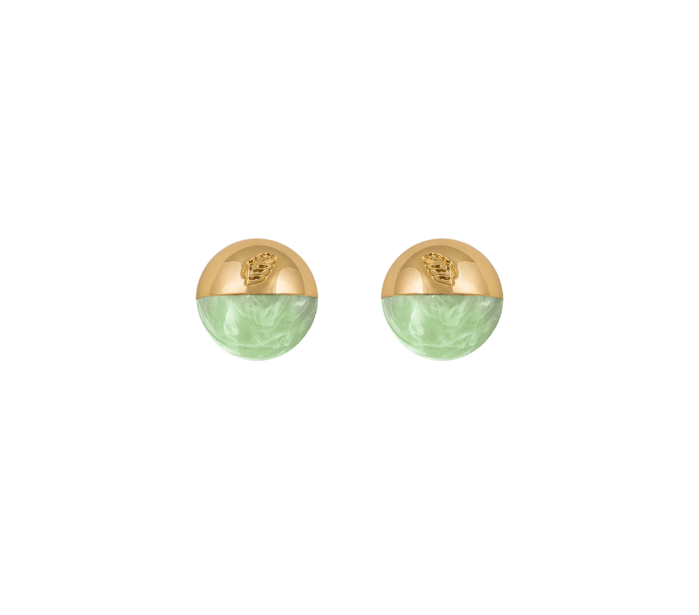 The Planet Stud Gold/Light Green