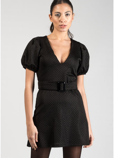 Isla Black Statement Sleeve Dress