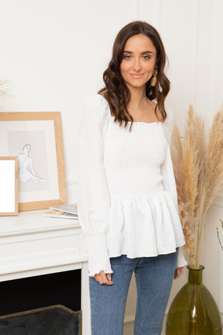 Ivy White Peplum Top