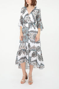 Cara White Paisley Print Dress