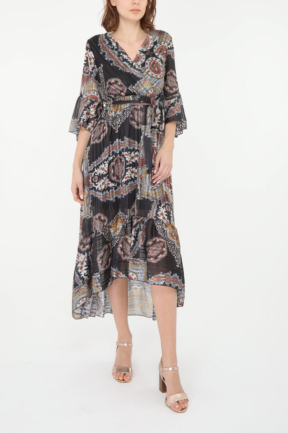Niamh Black Paisley Print Dress