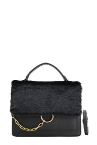 Jamie Faux Fur Bag Black