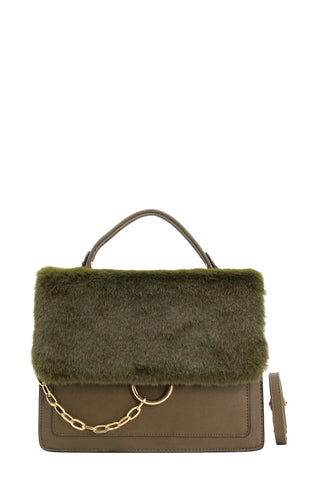 Jamie Faux Fur Bag Khaki