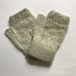 Jayde Grey Fingerless Embellished Gloves