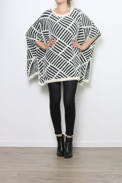 Jayden Black and Cream Poncho