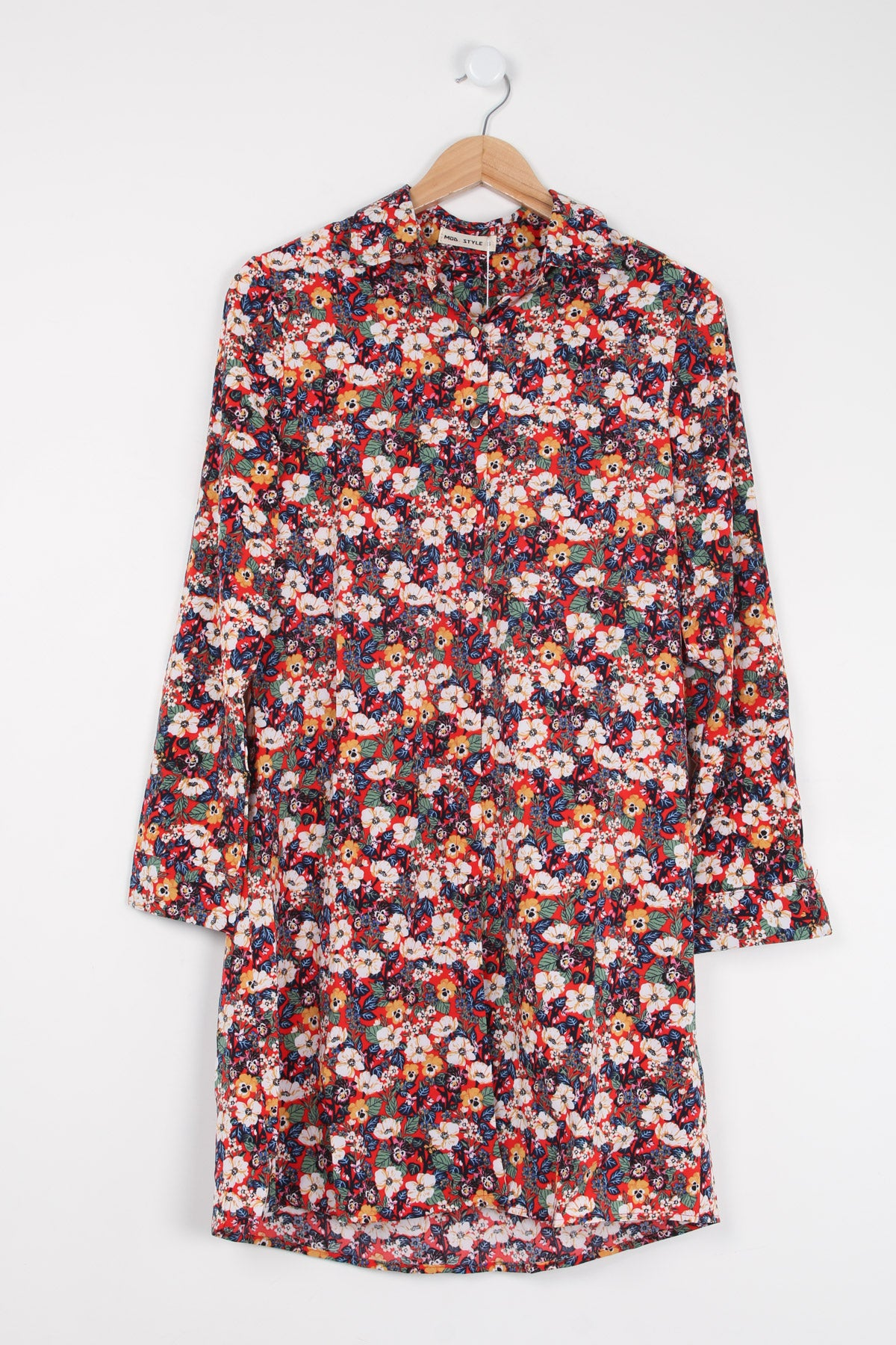 Jo Shirt Style Tunic Red Print