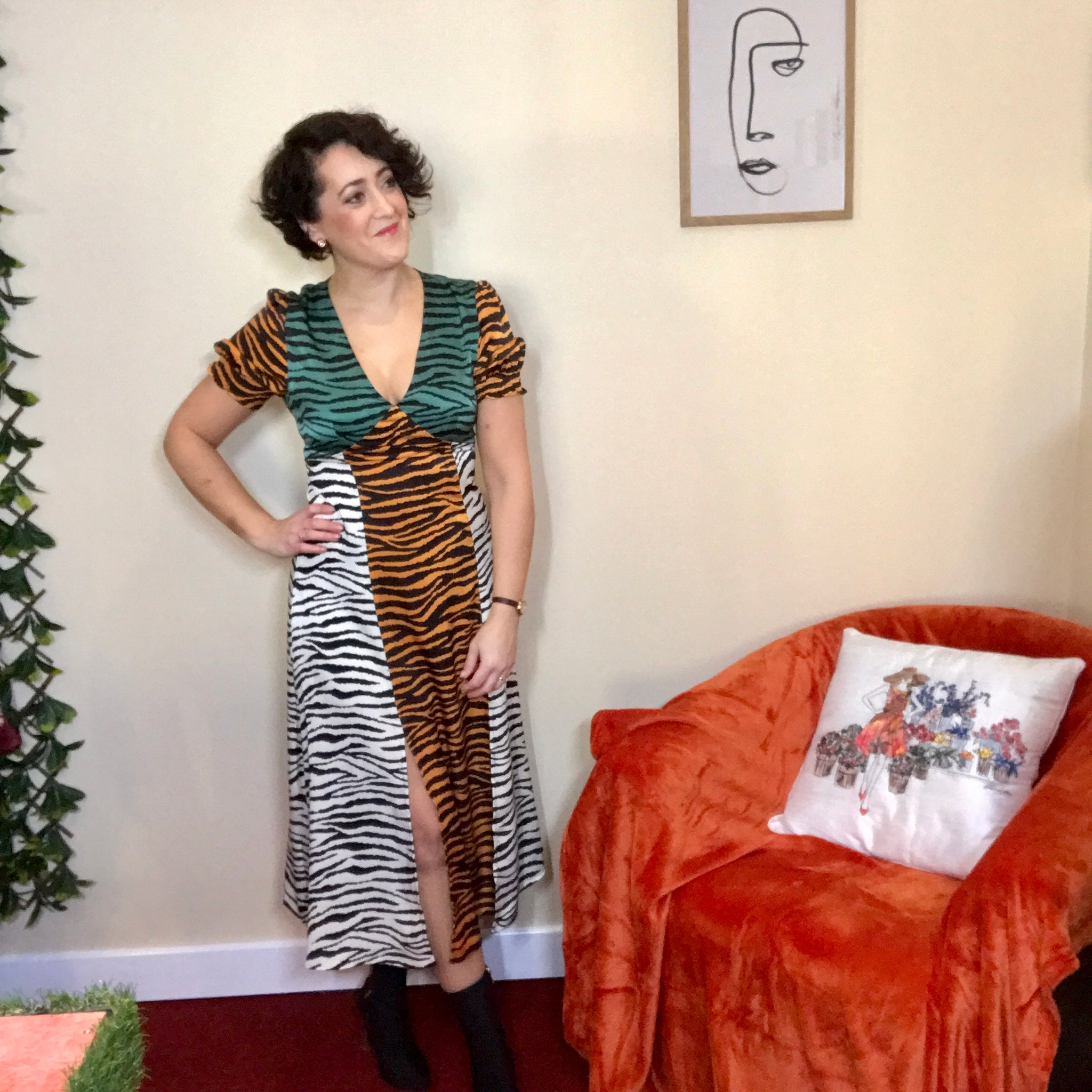 Jodi Animal Print Midi Dress