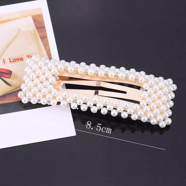Open Rectangle Pearl Hair Clip