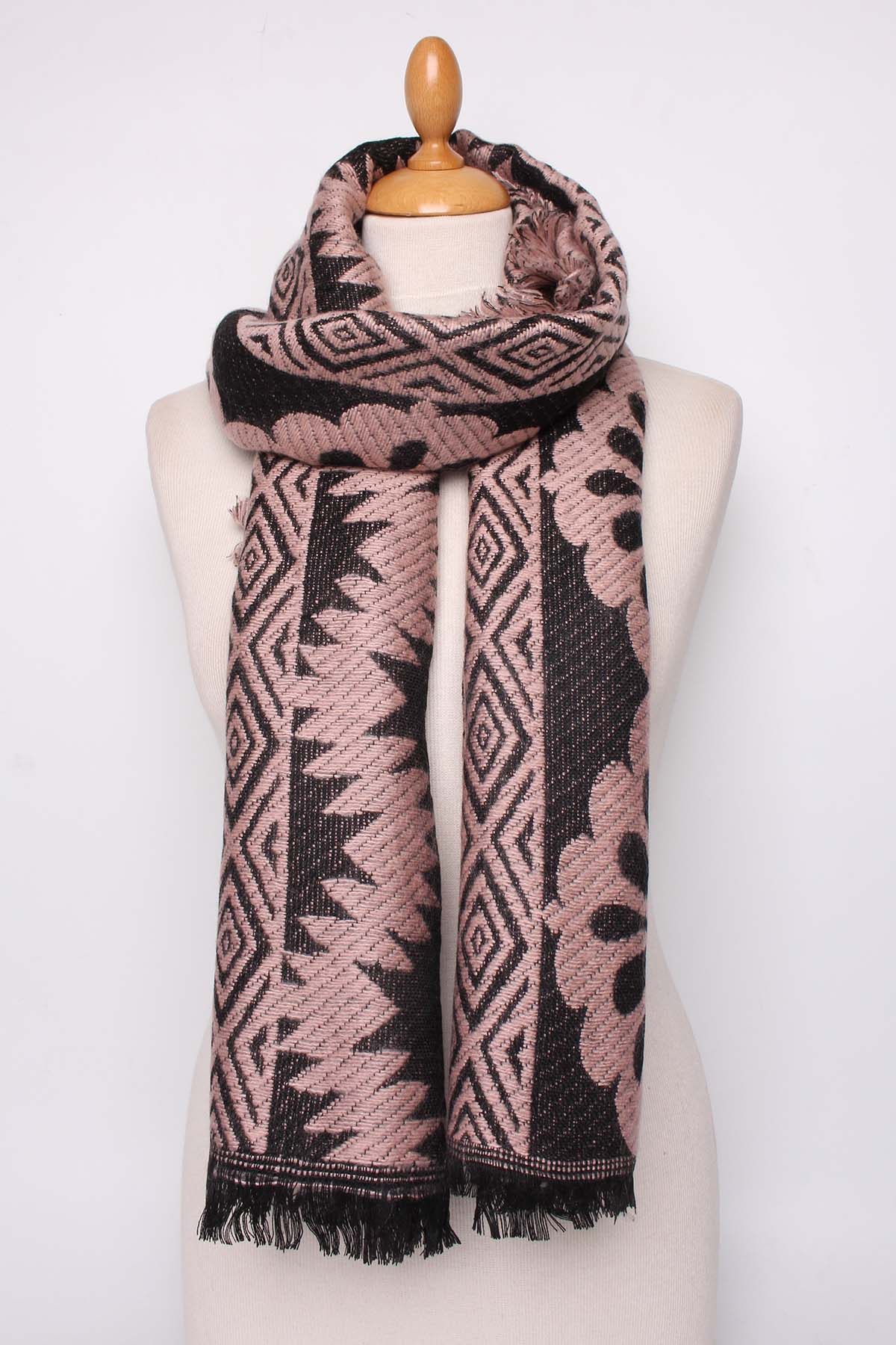 Karen Wool Mix Scarf in Rose