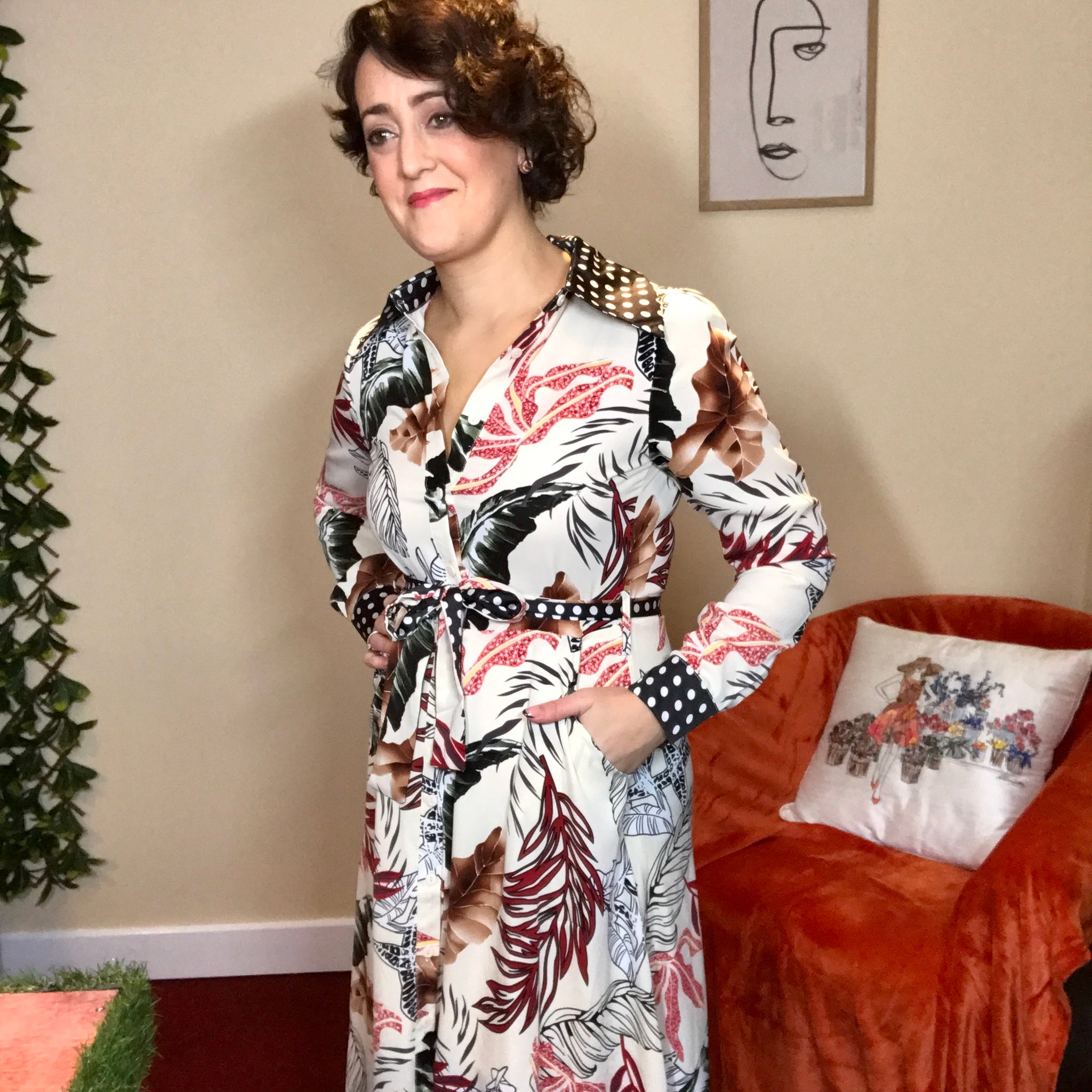 Kathryn Tropical Print Shirt Dress