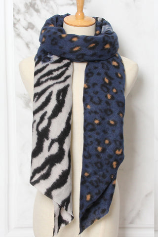 Kathy Animal Print Scarf Navy and Black