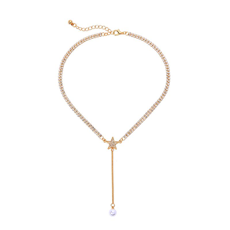 Kelli Crystal Chain Necklace with Crystal Star and Drop Pearl