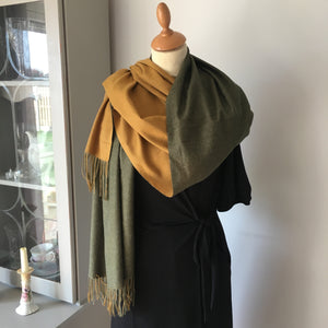 Khaki and Mustard Reversible Scarf