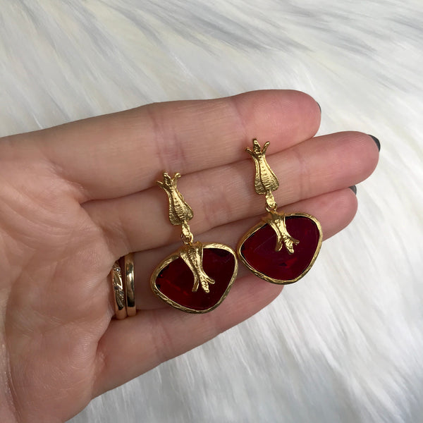 Kim Gold and Red Drop Earring