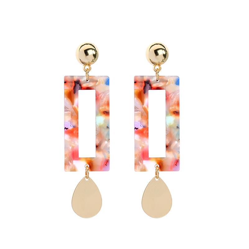 Elisa Resin Rectangle Earring with Gold Teardrop