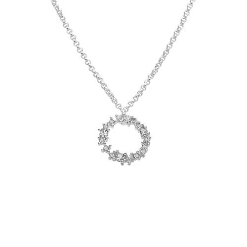 Ciara Silver Crystal Hoop Necklace