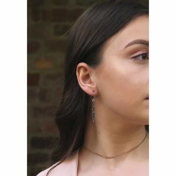 Emer Thin Silver Drop Crystal Earring