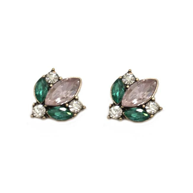 Aoife Pink and Green Crystal Cluster Earring