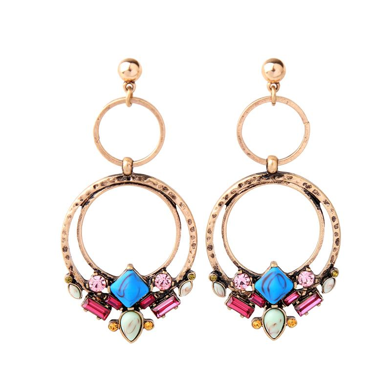 Twin Hoop Earrings Multi Colour Gems