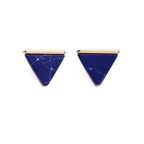 Blue Marble Pyramid Earrings