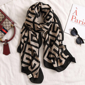 Melinda Light Cotton Feel Black and Beige Scarf