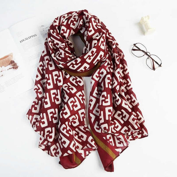 Tonya Light Cotton Feel Wine Scarf