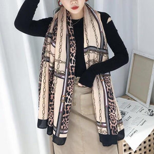 Laurie Light Cotton Feel Leopard and Chain Print Scarf