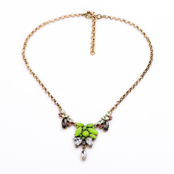 Lydia Lime Green Gem Necklace