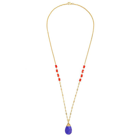 Rita Long Blue Pendant Necklace