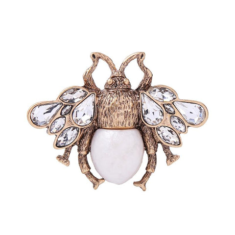 Luna Bee Brooch Gold with Cream