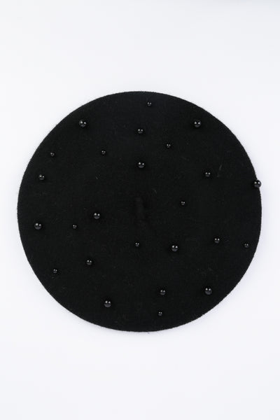 Madison Pearl Black Beret