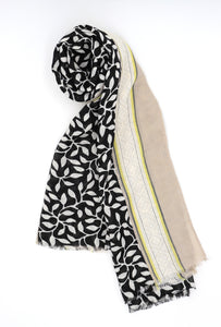 Mae Leaf Print Scarf Black and Beige