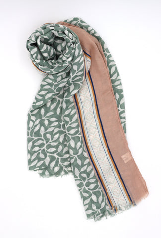 Mae Leaf Print Scarf Green and Beige