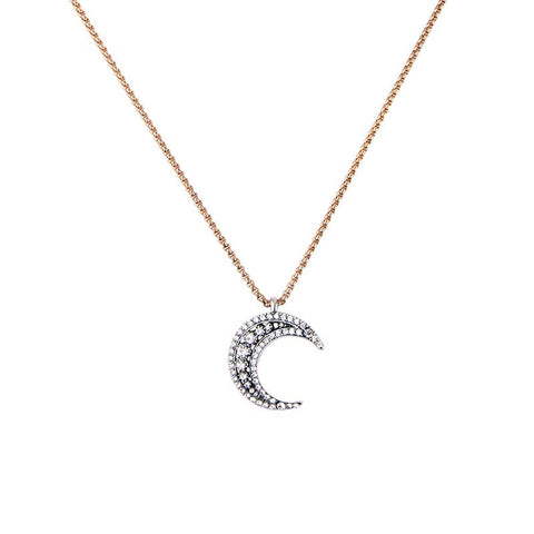 Maebh Long Crystal Moon Antique Gold Necklace