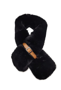 Mairead Black Faux Fur Scarf with Belt Detail