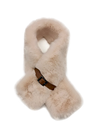 Mairead Cream Faux Fur Scarf with Belt Detail