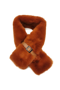 Mairead Caramel Faux Fur Scarf with Belt Detail