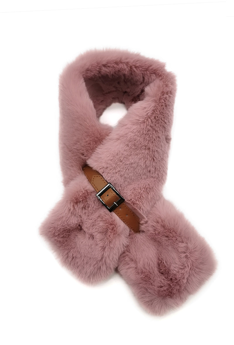 Mairead Dusky Pink Faux Fur Scarf with Belt Detail