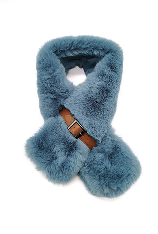 Mairead Sky Blue Faux Fur Scarf with Belt Detail
