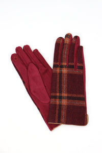 Mandy Check Gloves Burgundy
