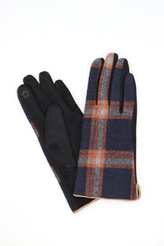 Mandy Check Gloves Navy