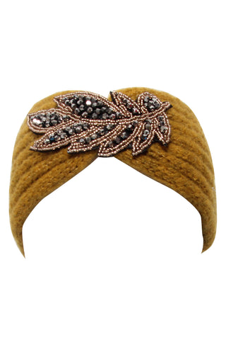 Marianna Embellished Knit Head Band Mustard