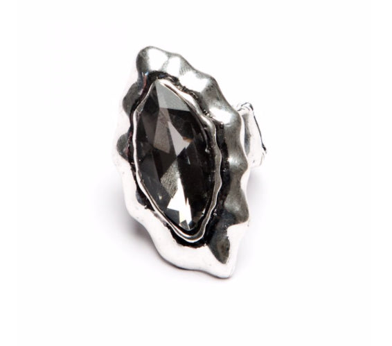 Marquise Crystal Silver Ring Grey
