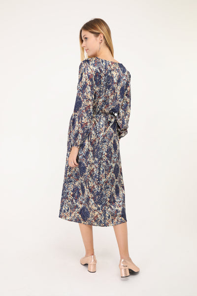 Melanie Navy Print Midi Dress