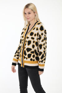 Michelle Yellow Animal Print Cardigan